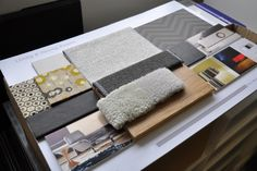 This sample board is busy but yet very simple and organised. I also like the fact that it displays both images, text and materials. Mood Board Interior, Interior Design Boards, Interior Design Inspiration, Interior Design Presentation, Material Board, Mood And Tone, Concept Board, Colour Board, Inspiration Boards