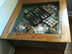 black coffee table display case glass top memorabilia end side