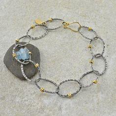 Wrapped Link Aquamarine Bracelet