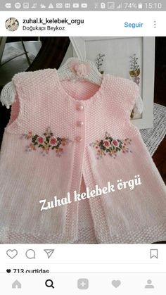 """Mine Adısönmez """"Discover thousands of images about Mine Adısönmez"""", """"This post was discovered by den"""", likes 43 comments"""", """"sweety babies a Knitting Blogs, Knitting For Kids, Baby Knitting Patterns, Crochet For Kids, Knitting Designs, Knit Crochet, Baby Cardigan, Baby Pullover, Baby Vest"""