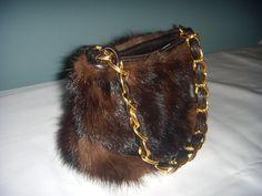 Gorgeous Italian Designer Mink Genuine Leather Handbag Purse by Paola PDL Handmade Handbags, Handbags On Sale, Luxury Handbags, Purses And Handbags, Leather Handbags, Fur Purse, Fur Bag, Vintage Fur, Vintage Purses