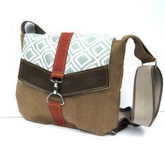 Satchel - Brown Herringbone - Geometric Aqua Canvas - Rust Red Linen - Brown Faux Leather. $42.00, via Etsy.