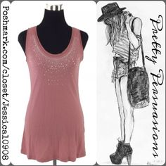"""New York & Company Studded Sleeveless Tank Top New York & Company Studded Sleeveless Tank Top  Size: Small  Measurements taken in inches:  Length: 30"""" Bust: 33"""" Waist: 32"""" Hips: 34"""" Sleeveless  Features:  • relaxed fit • studded detailing at bust/neckline  • soft material w/stretch  Bundle discounts available  No pp or trades New York & Company Tops Tank Tops"""