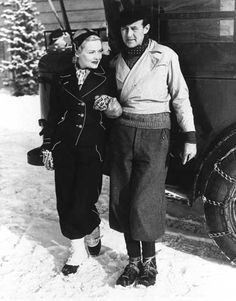 Schaffgotsch, who was adept at charming Hollywood's elite, escorts actress Madeleine Carol into the lodge, January 1936.  Photo courtesy Sun Valley Resort Archives