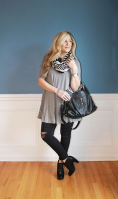 Outfitted411: Lace Ups...lace up booties, distressed black denim, infinity scarf, winter fashion