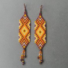Seed bead earrings Savannah  peyote ethnic style by Anabel27shop,