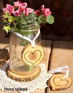 Rustic Wedding Tokens Mason Jar Decoration by thatfamilyshop