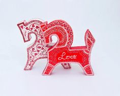 Valentines wooden toys Horses of Love home decor от LekaArt, $35.00