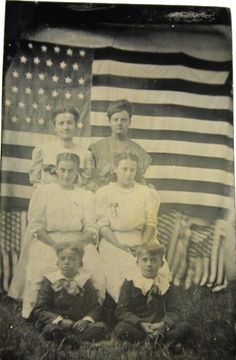 Family Photo with American Flag Back-drop American Spirit, American Pride, American Flag, American History, I Love America, God Bless America, Vintage Photographs, Vintage Photos, Patriotic Images