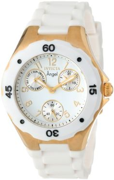 Men's Wrist Watches - Invicta Womens 0718 Angel Collection GoldPlated White Polyurethane Watch * Visit the image link more details.