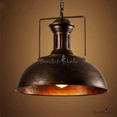 Antique Rust Single Light 16'' Wide Bowl Shape Pendant Light