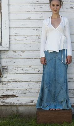 5bacbbe520  Long denim skirt jean skirt  2dayslook  jean style  jeanfashionskirt  www.2dayslook
