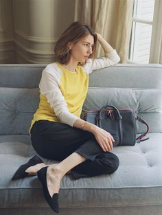 sofia * {effortless style in black trousers, elegant flats, a bright top, and of course the limited edition sc bag -- The Limited Edition SC bag by Sofia Coppola and Louis Vuitton at the Bon Marché 1 | Fashion | Vogue}