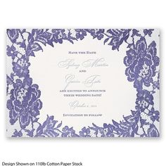 Decorative lace surrounds your wedding details on this two-color letterpress save the date card. #SavetheDate #LaceWedding #Letterpress #DavidsBridal http://www.invitationsbydavidsbridal.com/Wedding-Invitations/Save-the-Dates/2947-DB33669SD-Surrounded-in-Lace-Letterpress--Save-the-Date.pro?&sSource=Pinterest&kw=LoveyLace_DB33669SD