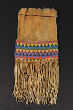 Late 19th c Northern Plains Indian Two-Sided Soft Deerskin Beaded Bag #ukauctioneers