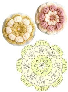 crochet flowers pillow -- wish I knew how to crochet! almofada com flores de crochet aplicadas Crochet Motif Patterns, Crochet Blocks, Crochet Diagram, Crochet Chart, Diy Crochet, Crochet Doilies, Crochet Flowers, Crochet Stitches, Crochet Scrubbies