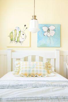 White and light yellow girls room