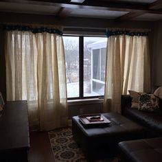 White linen and burlap ruffles curtains - wide ruched tabs - Tea dyed rosette Bedroom Decor, Ruffle Curtains, Burlap Curtains, Linen Curtains, Room Design, Tab Curtains, Drop Cloth Curtains, Tea Dyeing, Burlap