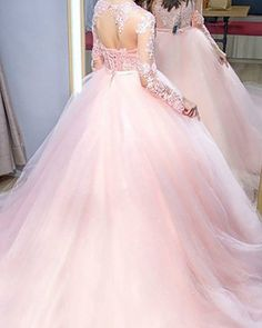 Buy 2019 pink ball gown jewel lg sleeves sweep brush train lace tulle evening dresses On Black Friday Prom, Provide High Quality Product, Satisfaction Tulle Ball Gown, Ball Gowns Prom, Prom Party Dresses, Quinceanera Dresses, Tulle Dress, Ball Dresses, Sweet 16 Dresses, Sweet Dress, Pink Evening Gowns