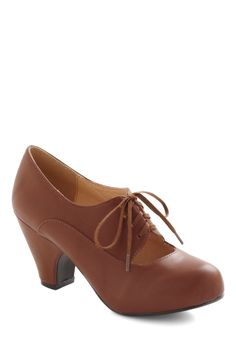 Kudos Were the Days Heel in Brown by Chelsea Crew - Tan, Solid, Cutout, Vintage Inspired, 20s, 30s, Mid, Leather, Faux Leather, Work, Lace Up