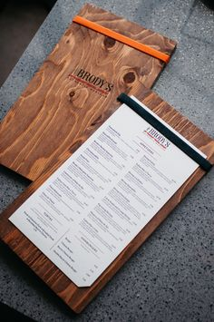 Logo and menu redesign for a local Mexican restaurant, Brody's. Hand-made menu board with screen printed logo.