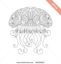 Vector illustration cartoon jellyfish with floral doodle ornament. Design for coloring book page. Decorative element