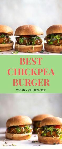 Vegan Chickpea Recipes, Vegetarian Recipes, Healthy Recipes, Best Vegan Burger Recipe, Gf Recipes, Vegetarian Cooking, Recipes Dinner, Free Recipes, Chickpea Patties