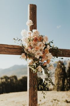Floral Cross at the Altar Elope Wedding, Wedding Goals, Wedding Ceremony, Our Wedding, Wedding Planning, Dream Wedding, Ceremony Backdrop, Outdoor Ceremony, Crowns