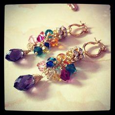 Multi color swarovsky earrings