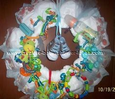 diaper bouquet for baby shower for boy | Diaper Wreath Photo Gallery - Photos And Tips Submitted By Our Readers