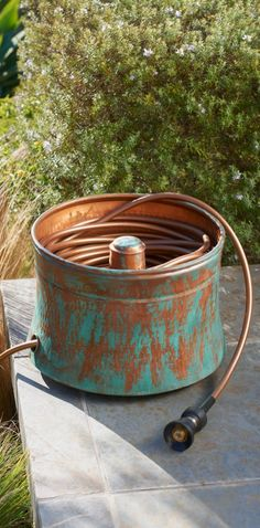 Our Patina Copper Hose Pot Takes On The Look Of Antiqued Garden Art, And  Becomes