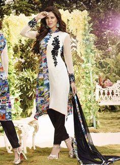 Black And White Satin Digital Georgette Salwar Suit