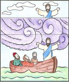 Jesus Calms The Storm! One could extend the visual by adding another fold to the bottom of the image which depicts a violent sea with waves (cut) which folds behind when the sea has been calmed. Bible Story Crafts, Bible Crafts For Kids, Preschool Bible, Bible Lessons For Kids, Bible Activities, Bible Stories, Sunday School Projects, Sunday School Kids, Sunday School Activities