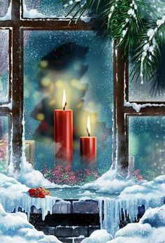 Candles through a frosted window; personal device wallpaper