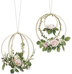 Ling's moment Floral Wreaths Set of 2 Blush Rose Artificial Flower Wreaths for Wedding Backdrop Hanging Decor Wedding Wreaths, Wedding Flowers, Wedding Decorations, Tree Wedding, Wedding Greenery, Wedding Ceremony, Wedding Decor Rentals, Diy Wedding, Greenery Decor