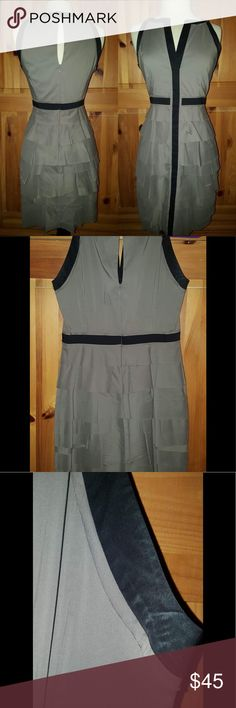 BCBG Taupe & Black Ruffle Dress Slip on this beautiful Dress from BCBGMAXAZRIA. taupe color with black features. Has chic ruffles just to top it off. Zips & Clasps in the back. Condition: Pre love, Underarms on both sides have discoloration pictured Retail: $225.00 Size: 4 Measurements: Length: 36 in Bust: 36 in Waist 28 in BUNDLE & SAVE 25% (Not valid during sales) Questions down below CONSIDERING REASONABLE OFFERS Get it in time for that special event Same day-next day shipping…