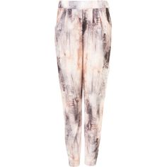 Smudge Tie Dye Jersey Trousers (1.650 RUB) ❤ liked on Polyvore featuring pants, jeans, topshop, trousers, pink, jersey knit pants, tapered pants, tie dye pants, tye dye pants and tie dyed pants