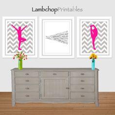 Cheerleading Set Hot Pink Cheerleader Wall by LambchopPrintables, $15.00
