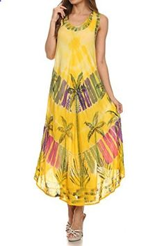 Sakkas 10SE Tasanee Caftan Tank Dress / Cover Up  Yellow  One Size  Go to the website to read more description.