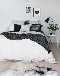 Bedroom Inspo Chic Black And White. The Best Boudoir Bedroom Ideas: Is Gorgeous! Bedroom In Scandinavian Style Home Interior Simple . Home and Family White Bedroom Design, White Bedroom Decor, White Bedroom Furniture, Bedroom Inspo, Bedroom Sets, Home Bedroom, Teen Bedroom, Bedroom Inspiration, Bedrooms