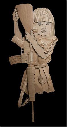 Recycled art in cardboard by Ali Golzad