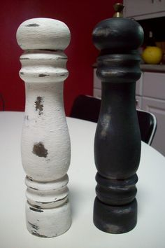 Black and White Salt and Pepper Mill set/ Rustic wooden salt and pepper shaker/ Shabby Cottage Chic wood pepper grinder/ made in Japan by UpcycledCottageDecor on Etsy