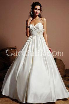 A-line Sweetheart Cross-over Natural Waist Bodice Wedding Dress w/ Flower $199.99