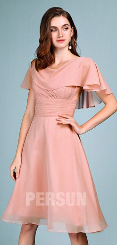 Short skin pink cocktail dress with pleated cape for bridesmaids - Persun. Bridesmaid Dresses, Prom Dresses, Bridesmaids, Mode Rose, Formal Wear Women, Pink Cocktail Dress, Red Chiffon, Dress Out, Beautiful Gorgeous