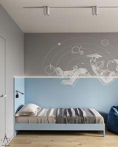 SLV1 on Behance Kids Bedroom Designs, Kids Room Design, Bed Design, Decoration Inspiration, Room Inspiration, Scandinavian Kids Rooms, Bedroom Corner, Teenage Room, Baby Boy Rooms