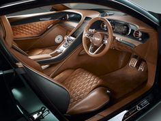 Bentley just showed off a two-seater car at the 2015 Geneva Motor Show, the EXP 10 Speed 6 concept car. Images credit Bentley According to Bentley the EXP Bentley Auto, Bentley Motors, Bentley Exp 10, Bentley Speed, New Bentley, Bentley Continental Gt, British Racing Green, British Car, Custom Car Interior