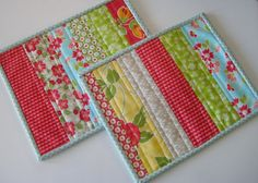 Handmade Set of 2 Quilted Mug Rugs  153 Snack Mat by PeppersAttic