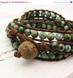 CIJ SALE  10 percent OFF African Turquoise Leather 4x by byjodi,