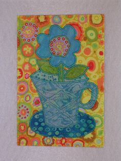 Cup of Flower   Applique Quilted Fabric Postcard  Whimsical Flower. $6.00, via Etsy.