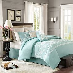 Transform your bedroom into a soothing sanctuary with the lovely Harbor House Landon Comforter Set. Dressed in chain stitch embroidery to create the intricate floral design, the soft sea foam blue bedding brings a touch of beauty to any room's décor.